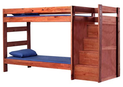Image for Mahogany Finish Staircase Bunk Bed w/o Bottom Bed