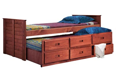 Image for Mahogany Finish Full Captain Bed w/Six-Drawer Unit, EX91 & Queen Rails