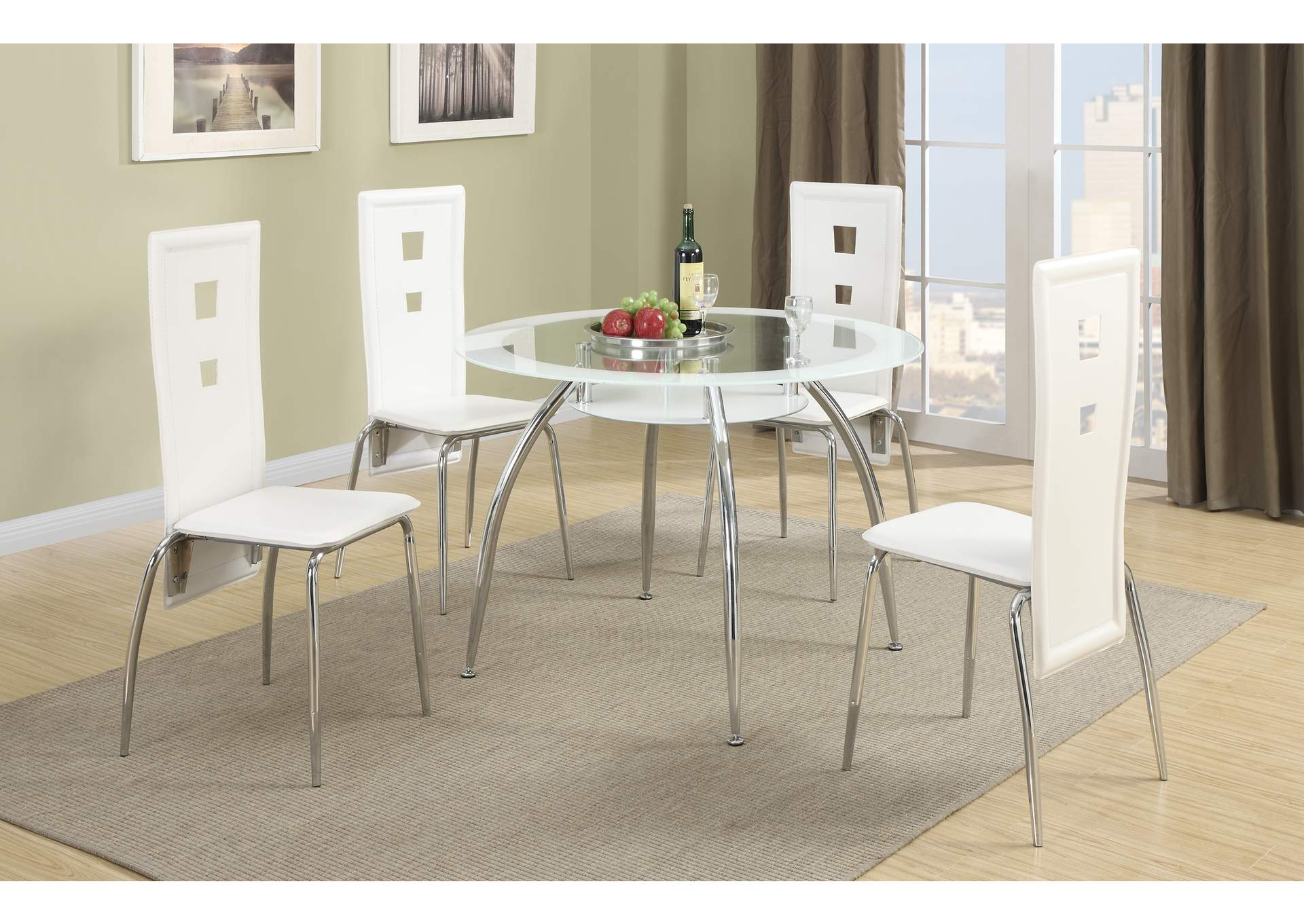 White Dining Chair (Set of 2),Poundex