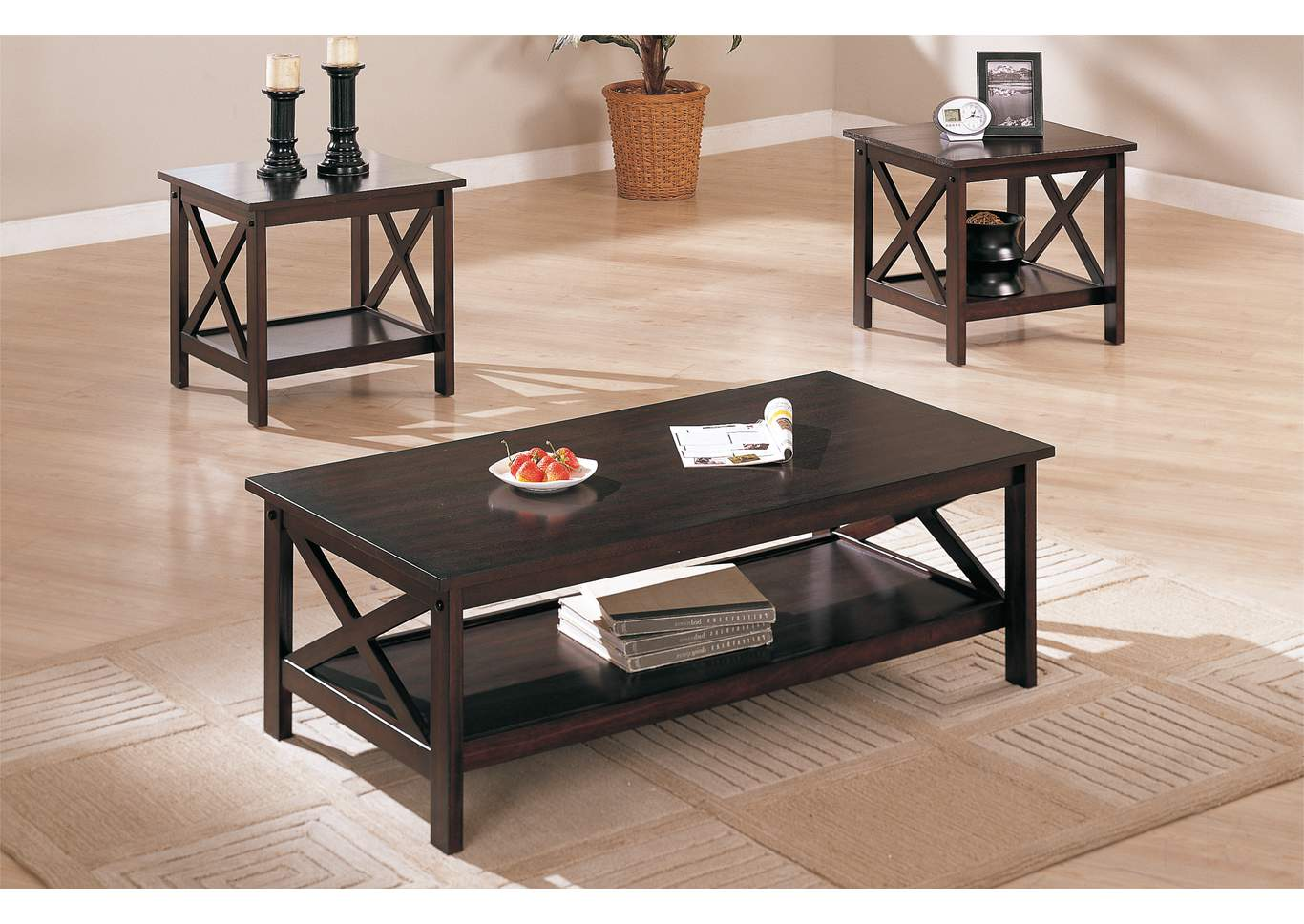 Dark Brown 3 PC Table Set 3 PC Table Set,Poundex