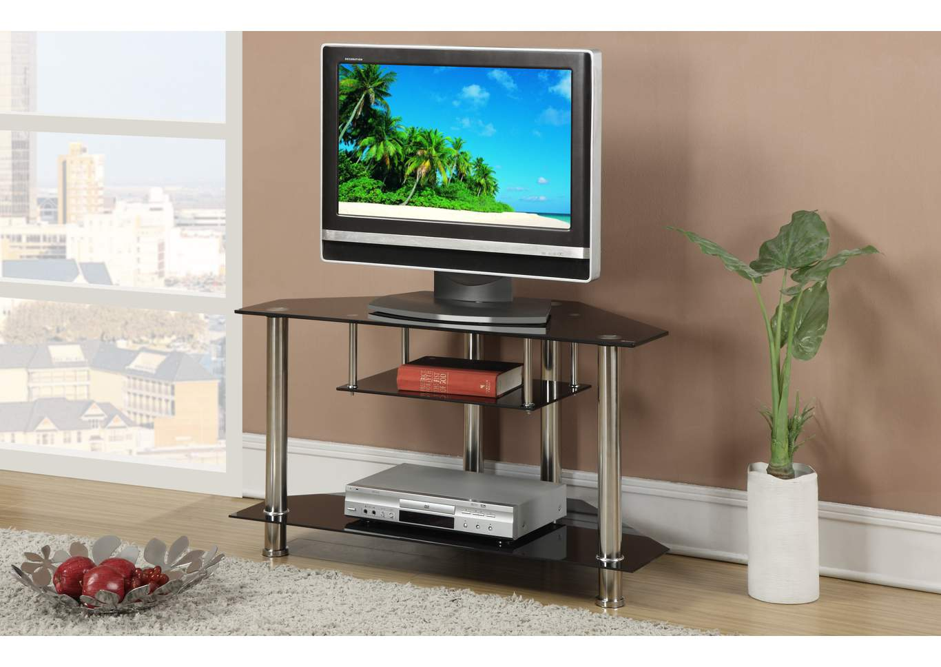 Black/Chrome TV Stand,Poundex