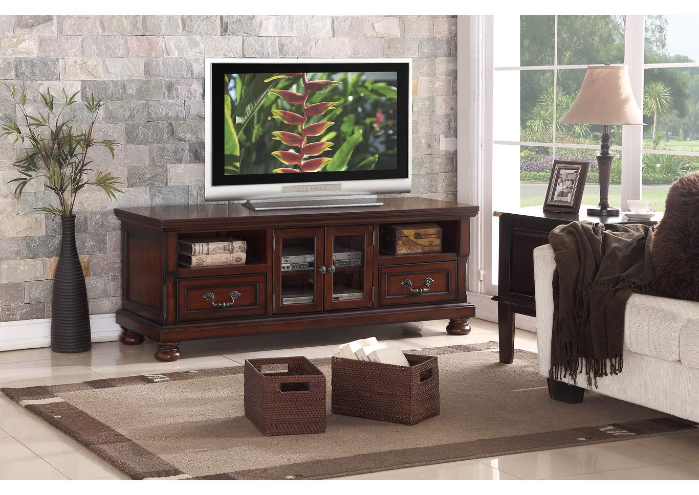 Cherry TV Stand,Poundex