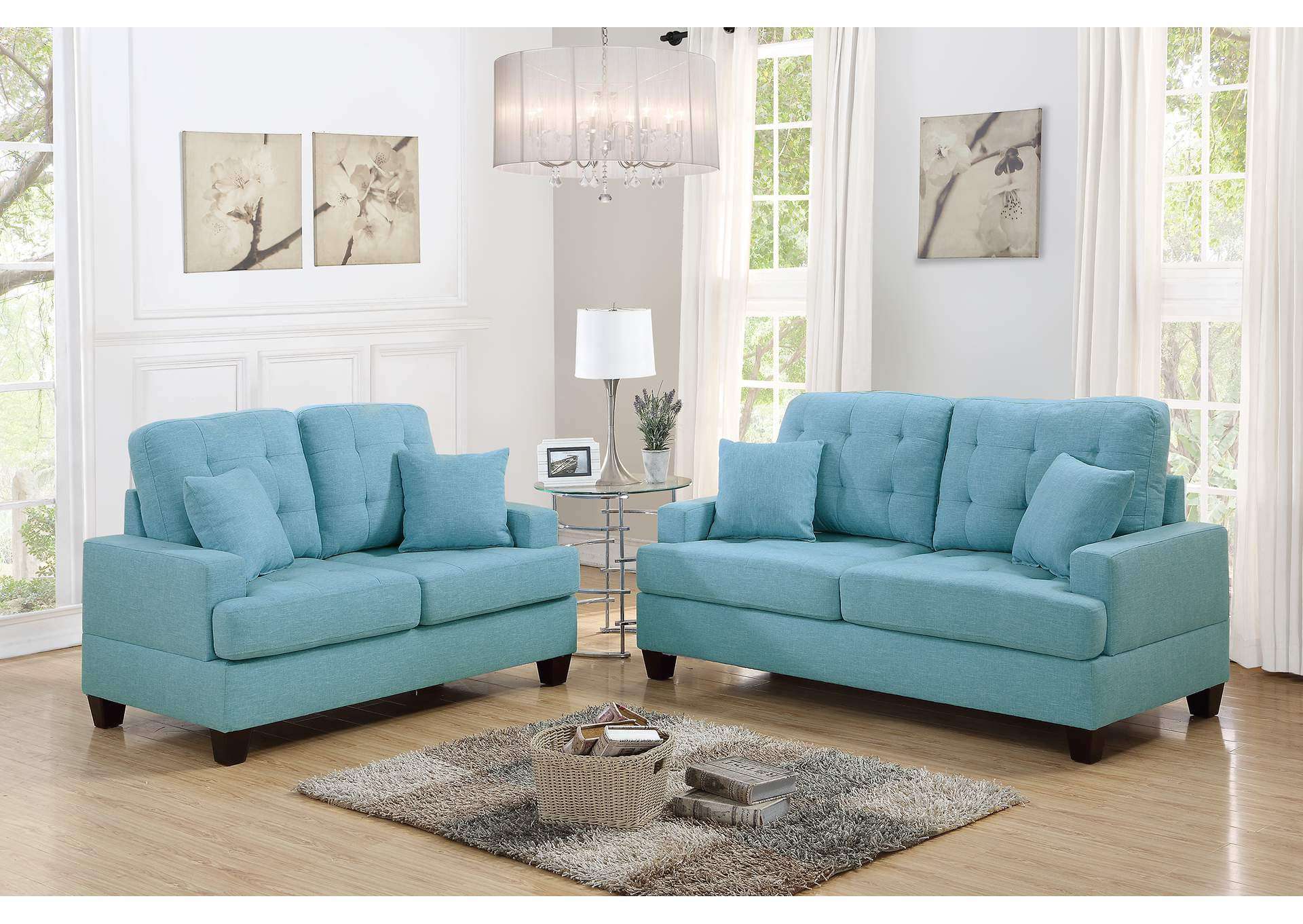 Blue 2 Piece Sofa Set,Poundex