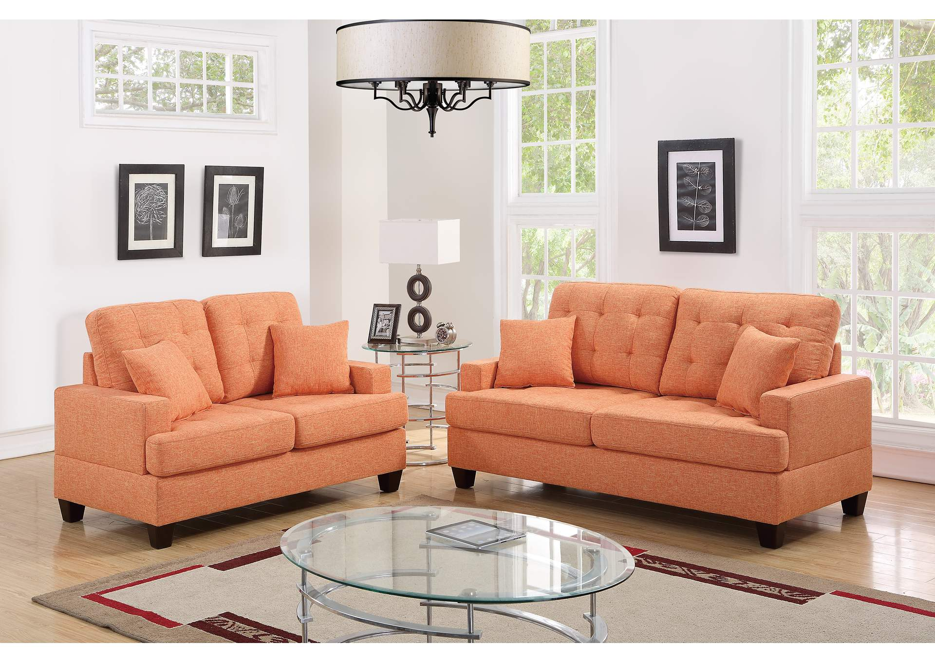 Citrus 2 Piece Sofa Set,Poundex