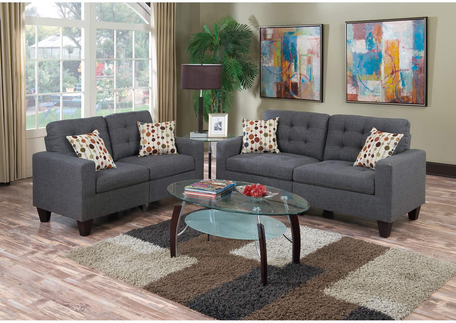 Ebenezer Furniture Blue Grey 2 Piece Sofa Set