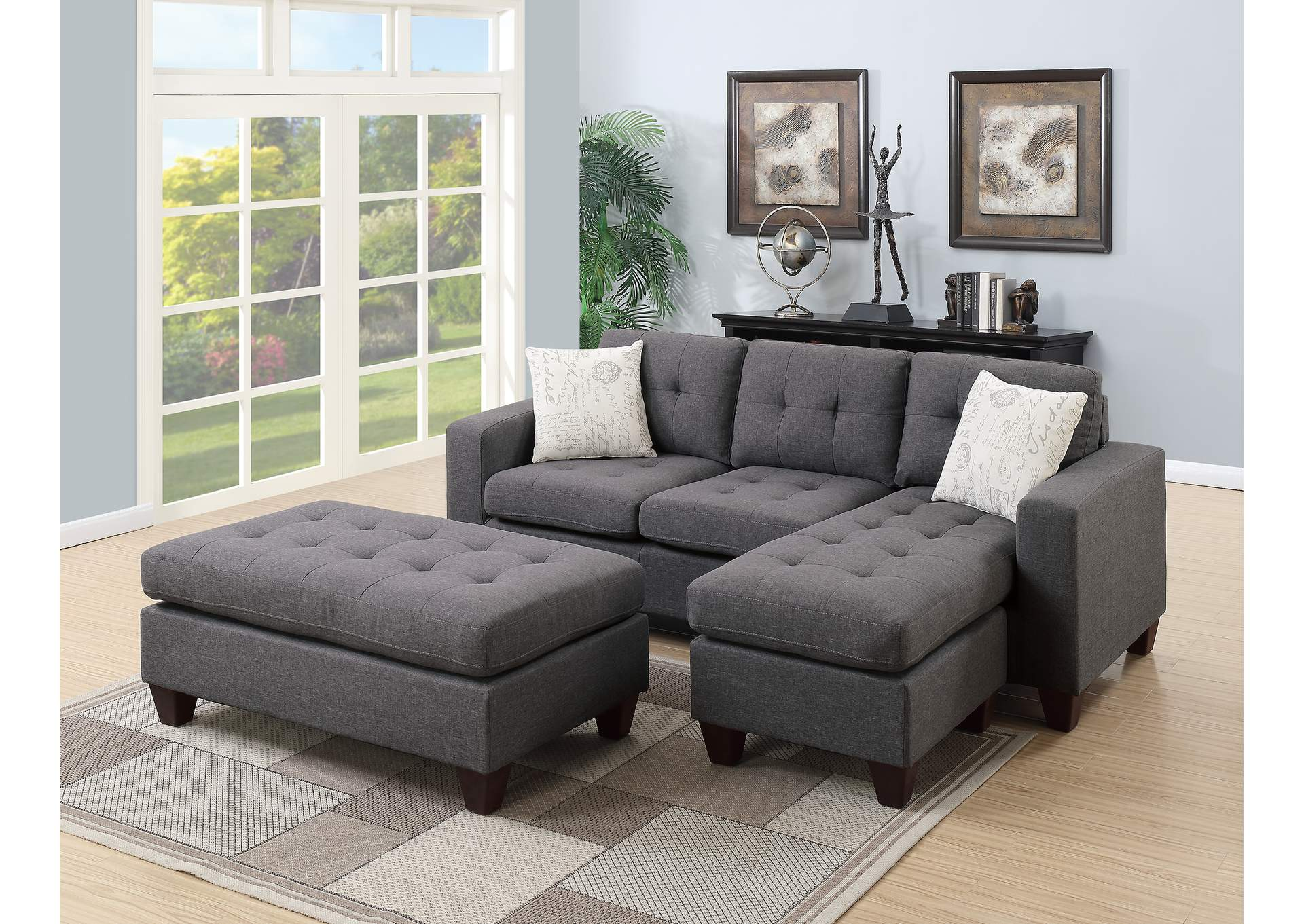 Blue Grey All-In-One Sectional,Poundex