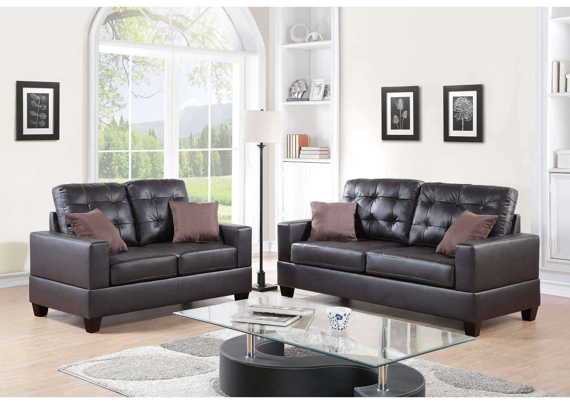 Espresso 2 Piece Sofa Set,Poundex