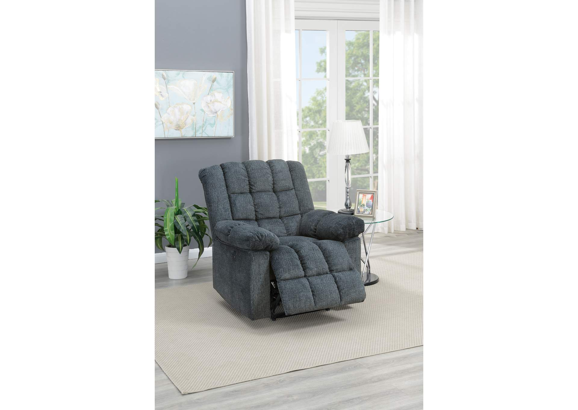 Taiyus Grey Chenille Power Recliner,Poundex