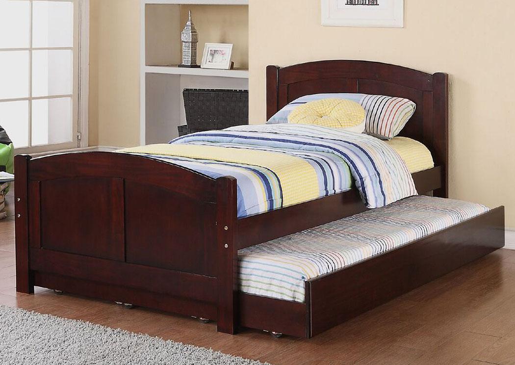 Quality Furniture Wa Espresso Twin Bed Wtrundle