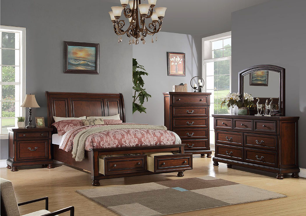 Cherry Queen Bed,Poundex