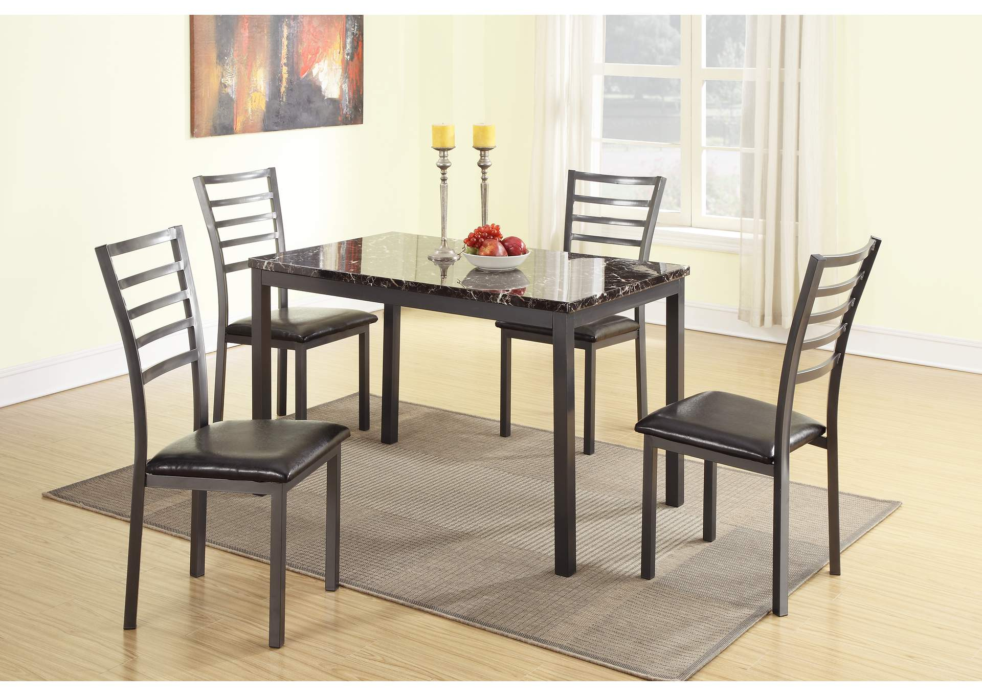 Black Metal 5 PC Dining Set,Poundex