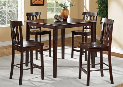 Rich Brown 5 PC Counter Height Set