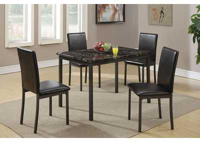 Black Metal Table w/Marble Top 5 PC Dining Set