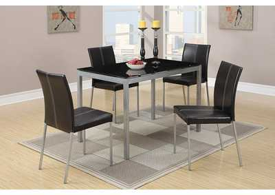 Gray Metal w/Glass Top 5 PC Dining Set
