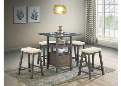 Image for Brown 5-Pieces Counter Height Dining Set