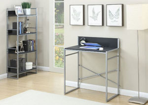 Gray Metal Writing Desk w/Glass Top Writing Desk