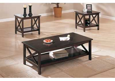 Dark Brown 3 PC Table Set 3 PC Table Set