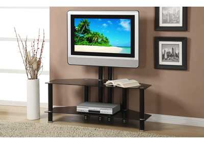 Black Glass Two-Shelf TV Stand TV Stand