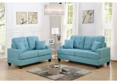 Blue 2 Piece Sofa Set