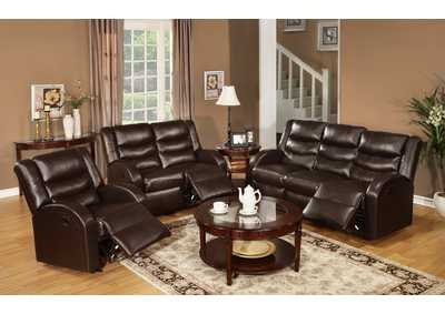 Espresso Bonded Leather Motion Loveseat