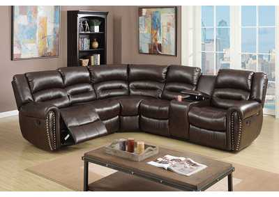 Brown Bonded Leather Motion Sectional