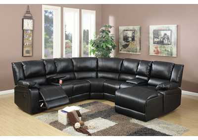 Black Bonded Leather Motion Sectional
