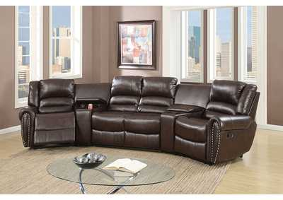 Brown Home Theater Sectional