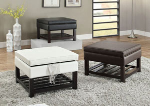 White Faux Leather Ottoman w/Storage