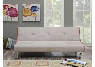 Taupe w/Red Trim Adjustable Sofa