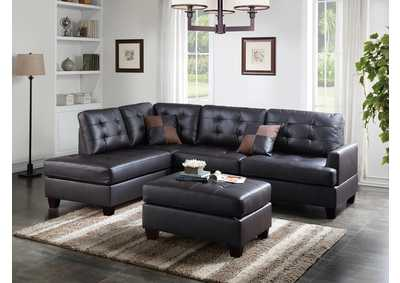 Espresso Faux Leather 3 PC Sectional Sofa