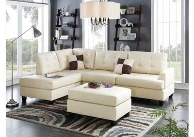 Beige Faux Leather 3 PC Sectional Sofa