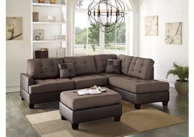 Chocolate 3 Piece Sectional