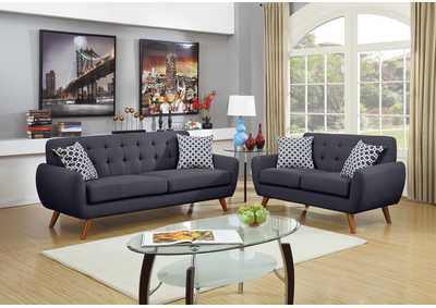 Ash Black 2 Piece Sofa Set