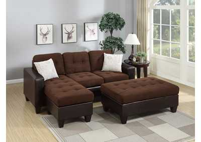 Chocolate Microfiber Sectional Set