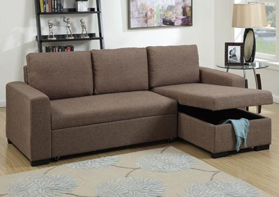 Light Coffee Convertible Sectional