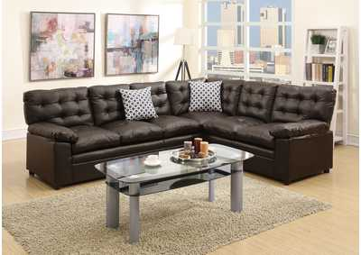 Espresso Bonded Leather 2 PC Sectional Sofa