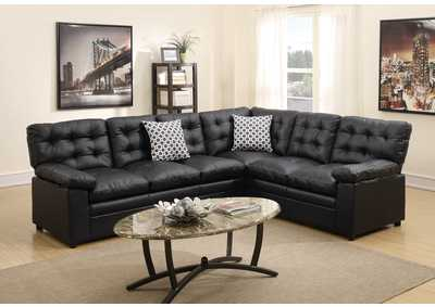 Black Bonded Leather 2 PC Sectional Sofa