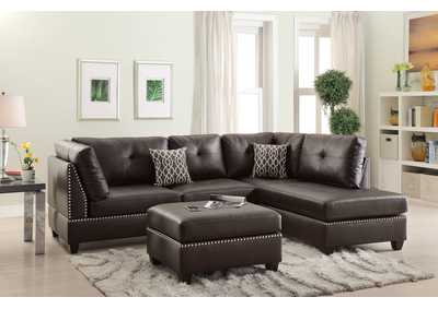 Espresso Bonded Leather 3 PC Sectional Sofa