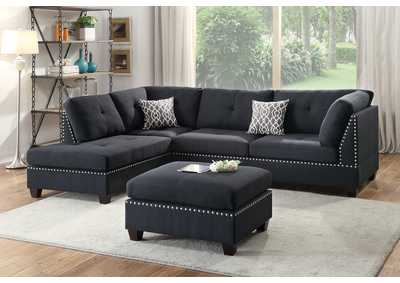 Black 3 PC Sectional Sofa