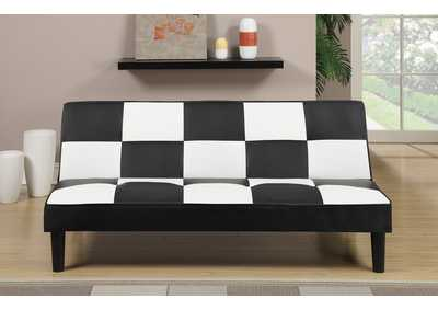 Black/White Faux Leather Checker Pattern Adjustable Sofa