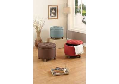 Light Blue Round Ottoman
