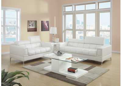 White Bonded Leather 2 PC Sofa Set