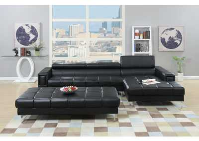 Black Bonded Leather 2 PC Sectional