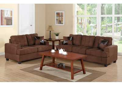 Chocolate 2 Pcs Sofa Set