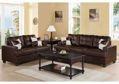 Espresso Bonded Leather 2 Pcs Sofa Set