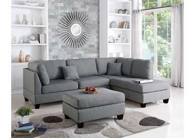 Grey 3 Pcs Sectional Set