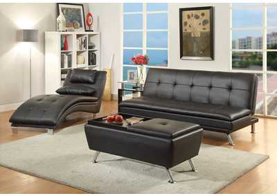 Black Faux Leather Chaise