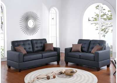 Black Faux Leather 2 Pcs Sofa Set