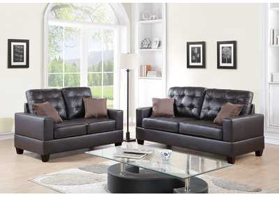 Espresso Faux Leather 2 Pcs Sofa Set