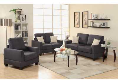Ebony 3 Pcs Sofa Set